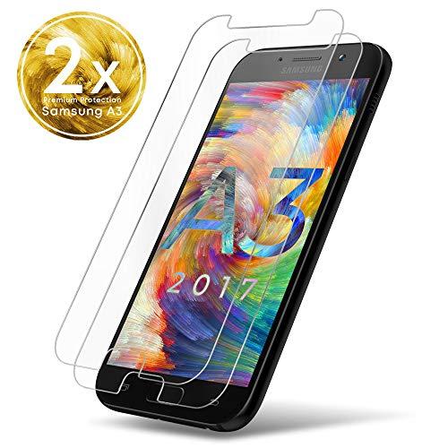 UTECTION 2X Schutzglas Folie für Samsung Galaxy A3 2017 - Schutzfolie aus Glas gegen Displayschäden - Passgenaue Schutzglasfolie Anti Kratzer - Displayschutzfolie Clear Durchsichtig