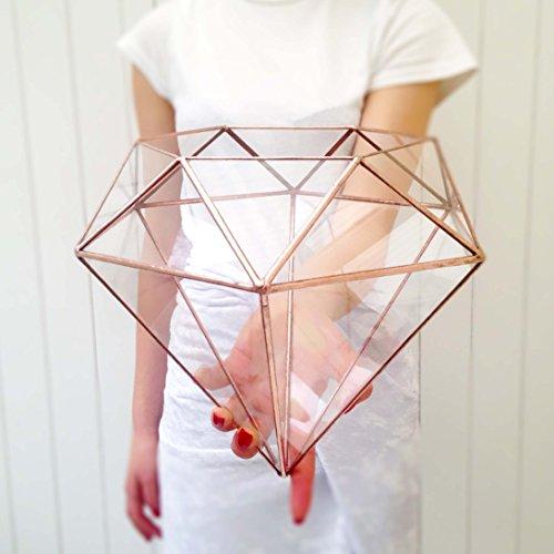 Terrarium de mariage en forme de diamant - Décoration de table moderne - Fait à la main en Angleterre (grande taille, cuivre brillant)