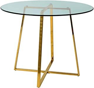 Limari Home Ruzzin Collection Modern Style Room Clear Tempered Glass 4 Persons Round Dining Table with Metal Base, Gold