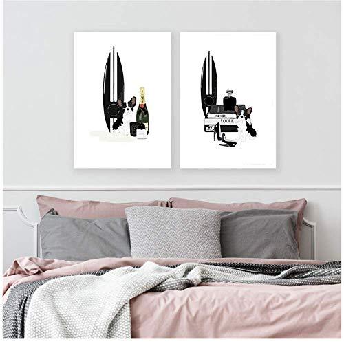 RuiChuangKeJi Canvas Schilderij Mode Muur Kunst Zwarte Parfum hond Poster Nordic Print Boek Vrouw Foto's voor Woonkamer Moderne Decoratie