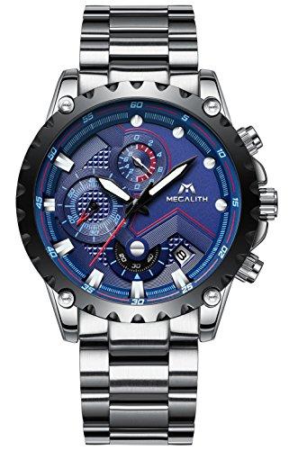 Relojes Hombre Acero Inoxidable Reloj de Pulsera de Lujo Moda Cronometro Impermeable Fecha Calendario Analogicos Cuarzo Reloj Militar Deportivo Cronógrafo Negocio Casual con Dial Azul Correa de Plata