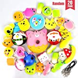 POKONBOY 20pcs Jumbo Squishies, Cream Scented Food/Animals/Donut Squishy Toys Soft Slow Rising Stress Relief Toys Backpack Keychains Birthday Gift Party Favors for Kids (Random)