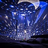 Eterichor Starry Night Light Projector, 2 in 1 Star Moon & Ocean World, 360° Rotating Multiple Colors Ceiling Projector for Baby Bedroom Decoration