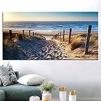 キャンバス絵画壁アート風景画モダンビーチ抽象的なポスターとリビングルームの装飾のための写真を印刷フレームなし-40x70cmフレームなし