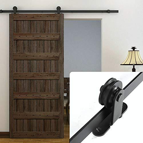 Berkalash Schiebetürsystem Set, Schiebetür Hängeschiene, Holzschiebetür Gleit Beschlag Laufschiene Spur Hardware 6.5Fuß(200cm)