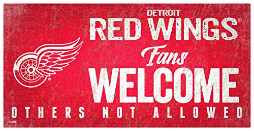 NHL Detroit Red Wings Unisex Detroit Red Wings Fans Welcome Sign, Team Color, 6 x 12