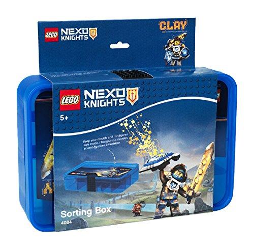 LEGO Nexo Knights Sortierbox, Aufbewahrungsbox/-kasten mit Fächern, durchsichtig blau, 26.7x17.8x6.6 cm