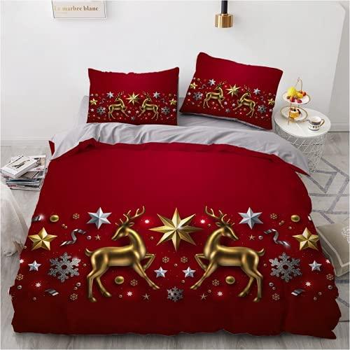 QWAS Juego de ropa de cama navideña, ropa de cama, funda de edredón, juego de 3 piezas (L1,200 x 200 cm + 80 x 80 cm x 2)