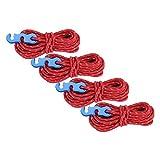 Cuerda de Viento Duradera, Cuerda de Viento para Tienda, Poliéster de Alta tenacidad para tendedero Material para Acampar Tienda de Cuerda para Atar(Red)