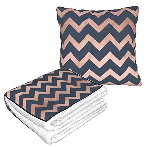 Manta de almohada de terciopelo suave 2 en 1 con bolsa suave azul y rosa Chevron funda de almohada para el hogar, avión, coche, viajes, películas
