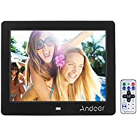 Marco digital para Fotos y vídeos Andoer 8 TFT-LCD (600*800) pantalla de alta Soporte Reproductor video MP3 MP4 Reloj Electrónico Calendario con Control Remot,mejor para regalo
