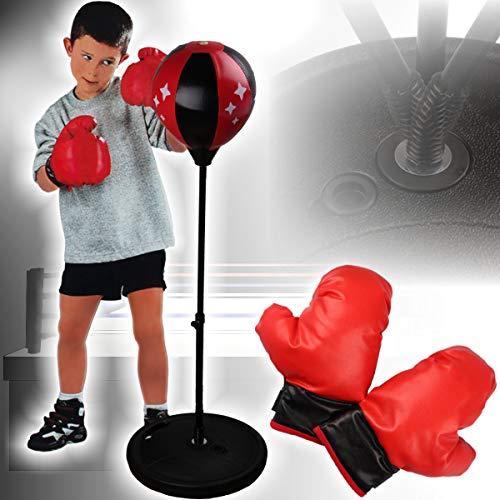 Stimo Punchingball Box Set inklusive Boxhandschuhe für Kinder/Jugend (höhenverstellbar 80-110 cm)