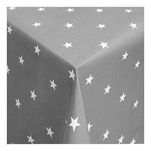 WACHSTUCH Tischdecken Wachstischdecke Gartentischdecke, Abwaschbar Meterware, Länge wählbar,Christmas Star Weisse Sterne auf silbernem Grund (280-07) 270cm x 140cm