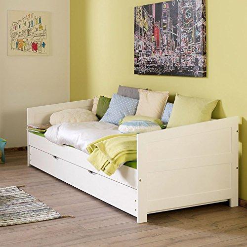 Lomado Funktionsbett ausziehbar mit Bettschublade ● Buche massiv weiß lackiert ● Liegefläche 90x200cm & 90x190cm ● Einzelbett Gästebett Jugendbett