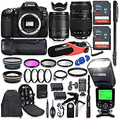 Canon EOS 90D DSLR Camera with EF-S 18-135mm f/3.5-5.6 is USM Lens + Tamron 70-300mm AF Lens, Battery Grip with Advanced Professional Photo & Travel Bundle from Canon