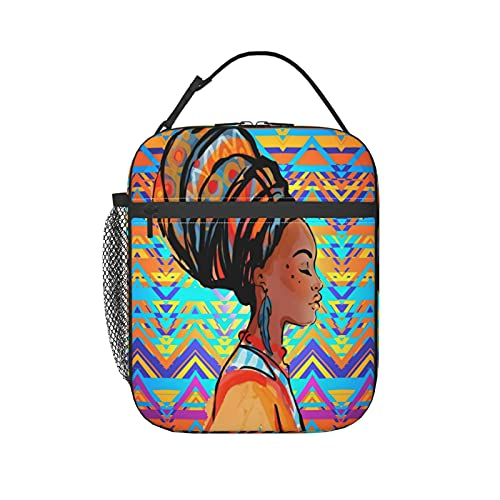 ZXZNC Lunch Bags For Women Men Beautiful African Woman Earring Over Ethnic Style Insulated Meal Prep Lunch Box Kids Girls Adult Ladies Thermal Cooler Lunch Tote Bag Portable Personalized Leakproof Was
