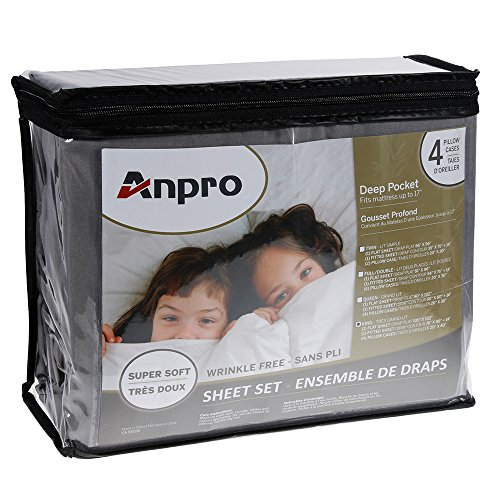 Anpro King Size Bed Sheet Set - Pillowcase Set - Soft Microfiber Super Soft - Wrinkle, Anti-Fading, Stain Resistant - Hypoallergenic - 6 Piece (King, Gray)