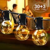 MYCARBON LED Lichterkette außen 10.7M 33er Birnen wasserdicht Lichterkette Innen Weihnachtsbeleuchtung mit stecker Deko für Weihnachten Garten Zimmer Bar Balkon Party Hochzeit 3 Ersatzbirnen Warmweiß