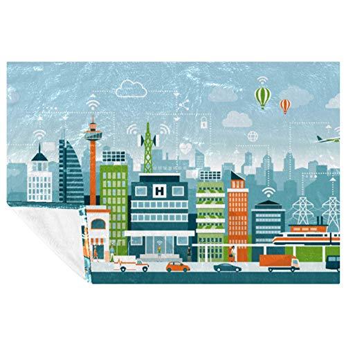 EZIOLY The Future City Manta acogedora para las piernas, súper esponjosa, suave y cálida, de microfibra de felpa para cama, sofá, al aire libre, viajes, picnic, camping (59 x 39 pulgadas)