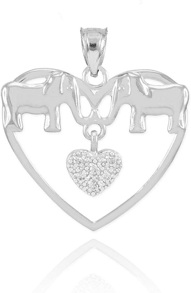14k White Gold Double Elephant Diamond Cluster Charm Open Heart Pendant