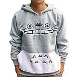 WellingA Unisexo Totoro Sudadera con Capucha Chaqueta con Capucha de Suéter de Chinchilla Gruesa de Otoño e Invierno Manga Larga Hoodie Casual Camisa de Entrenamiento,001,XL