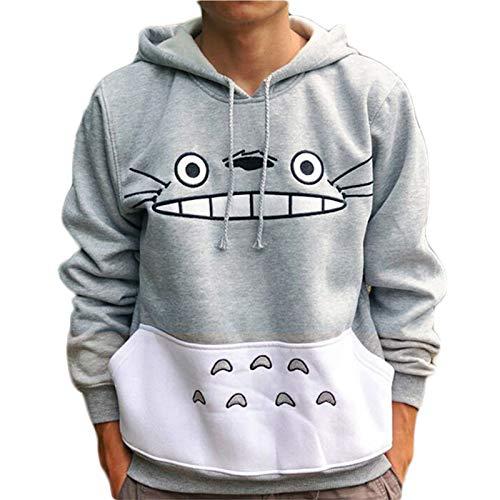 WellingA Totoro - Sudadera con capucha para adolescentes otoño e invierno gruesa Chinchilla suéter con capucha