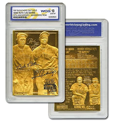 Bleachers Babe Ruth & Lou Gehrig Murderer's Row 23KT Gold Card Sculpted Graded GEM Mint 10