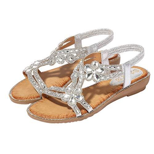 Bohemia Verano Mujer Damas Bling Flor Cristal Plana Sandalias Playa Zapatos Casuales