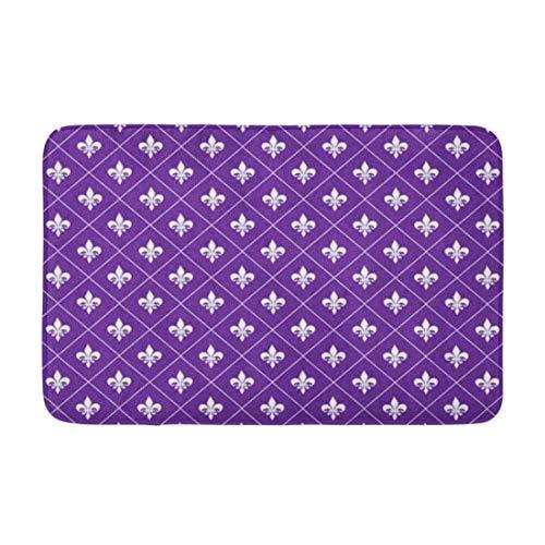 Alfombra de invitación de fondo púrpura flor de lis cepillo de trazo caligrafía caligrafía piso alfombra entrada camino bienvenida felpudos almohadilla de baño para cocina baño baño 40 x 60 cm