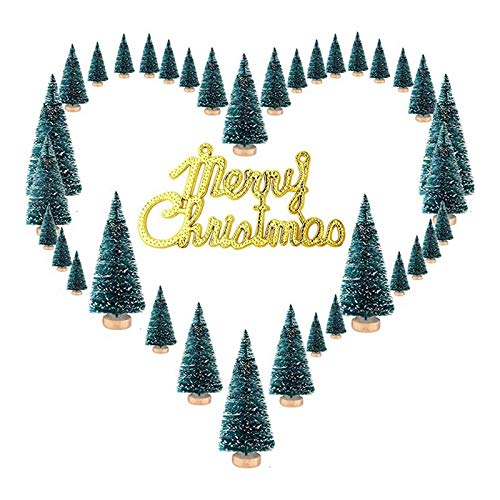 Senmubery Sisal Snow Frosted Trees Pine Bottlebrush Trees with Wood Base Bottle Merry Christmas Letters for Party Christmas