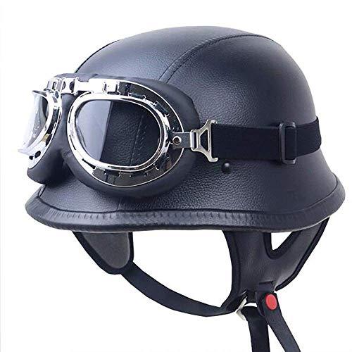Xwenx Motocicleta de la Motocicleta Vintage Adult Half Dot Half Cascos para Hombres Estilo Alemán Estilo Negro Motocicleta Maldad...