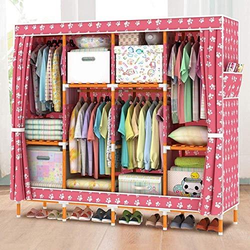 HWG Kleiderschränke Aus Stoff Tragbarer Kleiderschrank Kleiderschrank Mit 4 Kleiderstangen, 8 Regalen Für Schlafzimmer, Wohnzimmer,G