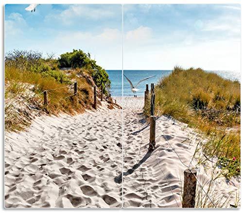 Wallario Herdabdeckplatte/Spritzschutz aus Glas, 2-teilig, 60x52cm, für Ceran- und Induktionsherde, Möwen auf dem Weg zum Strand