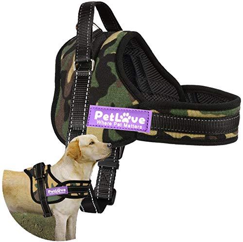 Hundegeschirr, PetLove weiche Leine gepolsterte No-Pull Hundegeschirr in allen Größen - Medium, Camouflage