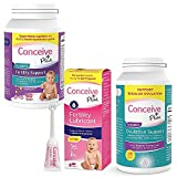 CONCEIVE PLUS Complete Fertility and Ovulation Bundle, Supports Healthy Fertility Regular Cycles and PCOS, Fertility Lubricant Applicators