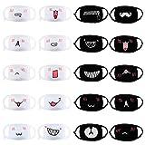 Bolonbi 20 Stück Anime Mundmaske, Kawaii Cartoon lustige Anti-Dust Gesichtsmaske Gesichtsmaske Emoticon Masken für Kinder Teenager Männer Frauen