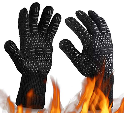 MOAMI Oven Gloves 932°F Heat Resistant BBQ Gloves Oven Mitts-Cut Resistant Cooking Gloves, Non-Slip Silicone Grill Glovess for BBQ, Grill, Baking, Welding