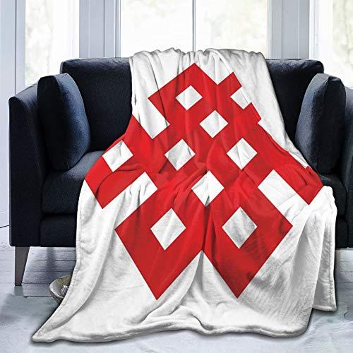 Manta esponjosa, líneas geométricas enredadas que forman parte de forma cuadrada, marco de borde con detalles en zig-zag, ultra suave, manta para bebé, cama, cama, TV, manta de 80 x 60 pulgada