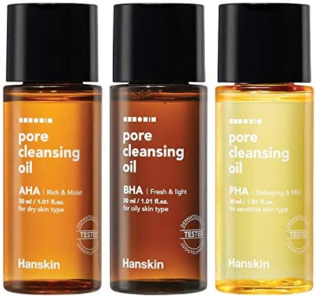 Hanskin PHA BHA AHA Pore Cleansing Oil Sample Trial Size Travel Size Mini Makeup Remover Set product image