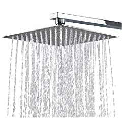 Rain Shower 12 inch Square Recessed Shower Head 304 Stainless Steel Shower Head Polished Mirror Effect Head Shower Shower Shower with Anti-Lime Nozzles 30 X 30 cm Waterfall Rain Shower Head -Conhee