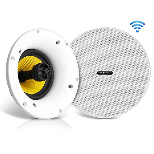 "WiFi Bluetooth Ceiling Mount Speakers - 5.25"" in-Wall/in-Ceiling Dual Active & Passive Speaker System (2) Flush Mount w/ Powerful 240 Watts Remote Control & MUZO Player Compatible - Pyle PDICWIFIB52"