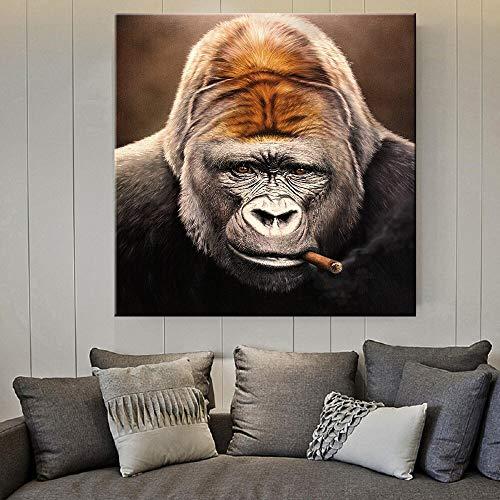 wZUN Arte Callejero Lienzo Impreso Pintura Animal Gorila fumando cigarro Imagen para Sala de Estar decoración del hogar Lienzo Animal 60x60 Sin Marco