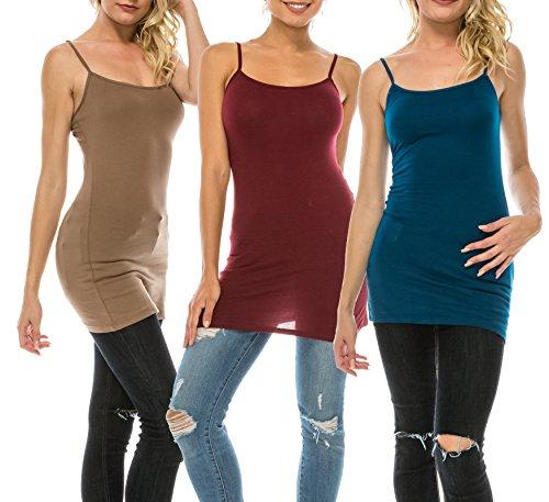 Nolabel [WT362 Multi Color 3 Pack Women's Basic Active Long Length Adjustable Spaghetti Strap Cami Tank Top 3P [BMU/DBG/TE] 2XL