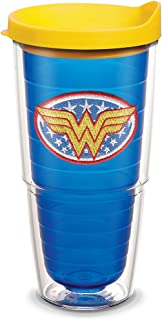 Tervis 1084015 Wonder Woman Tumbler with Emblem and Yellow Lid 24oz, Blue
