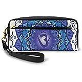 Flor de Loto y Ajna Chakra Símbolo de meditación Yoga Zen Pequeña Bolsa de Maquillaje con Cremallera Estuche de lápices 20cm * 5.5cm * 8.5cm