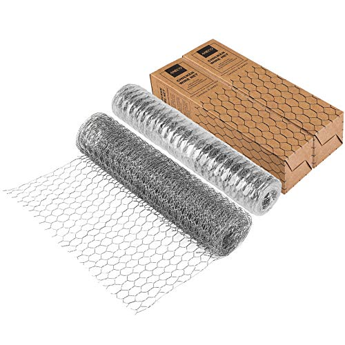 ANECO Chicken Wire Net Rabbit Animal Fence Netting Galvanized Hexagonal Wire Mesh Fence Wire Netting for Craft Projects, Home Use and Gardening, Silver, 13.7 x 236.2 Inches