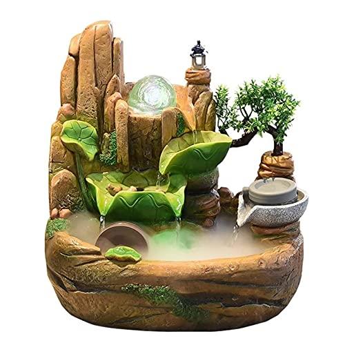 LAHappy Fuente de Interior de Polirresina, Fuente de Escritorio Adorno de decoración de Agua Corriente, iluminación LED Cascada de Meditación Zen