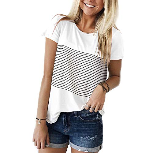 YunJey Short Sleeve Round Neck Triple Color Block Stripe T-Shirt Casual Blouse White