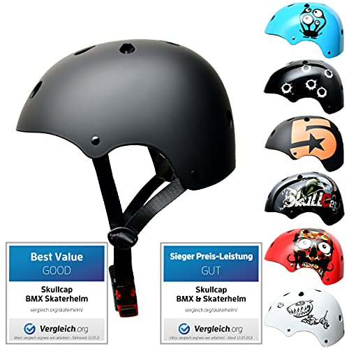SkullCap® Kids BMX & Skate Helmet - Bicicleta Y Scooter Eléctrico, Diseño: Dark World, Talla: S