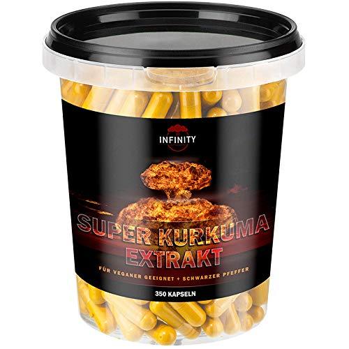 350 Kapseln Super Kurkuma Extrakt - 600mg mit 95{1c9abb2eaa3cff32467756916c690919a75149a8e16ef8d08711b51e2be08eec} Piperine Hochdosiert - extrem Bioverfügbar - Ohne unerwünschte Zusätze - Superfood Curcumin Longa - Für Veganer und Vegetarier geeignet